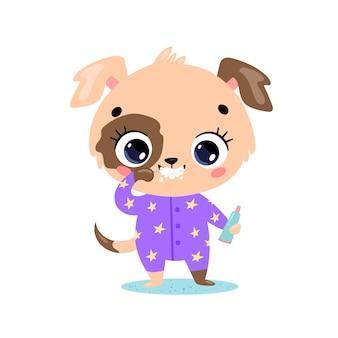 Piatto doodle simpatico cartone animato cucciolo lavarsi i denti. gli animali si lavano i denti.
