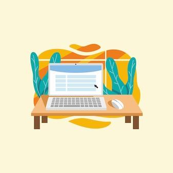 Disegno piatto dell'illustrazione del fondo del computer portatile del disegno