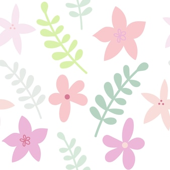 Modello di colore senza cuciture floreale piatto disegnato in colori pastello fiori e rami carini