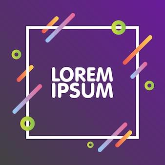 Disegno di sfondo dinamico piatto. geometrico colorato su sfondo grigio viola con cornice e spazio per il testo. illustrazione vettoriale.