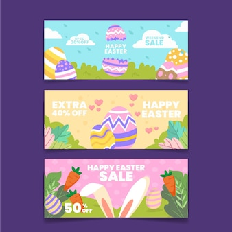 Banner di vendita di pasqua piatto
