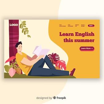 Modello di pagina di destinazione educazione piatta
