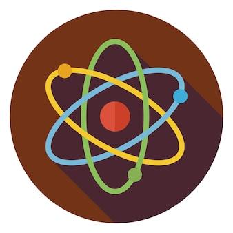 Segno piatto di educazione e scienza. torna a scuola e istruzione illustrazione vettoriale. icona del cerchio di scienza colorata in stile piatto con ombra lunga. fisica e oggetto di ricerca.