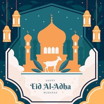 Illustrazione piana di eid al-adha