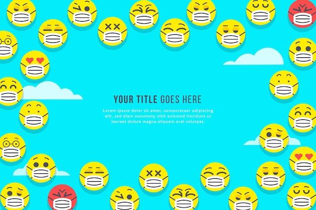 Emoji piatte con sfondo maschera facciale