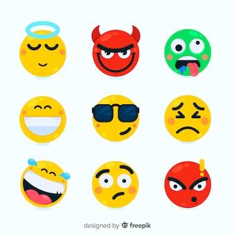 Emoticon piatto reazione collectio Vettore Premium