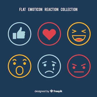 Raccolta di reazioni di emoticon piatto
