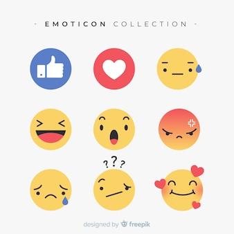 Raccolta di reazioni di emoticon piatto Vettore Premium