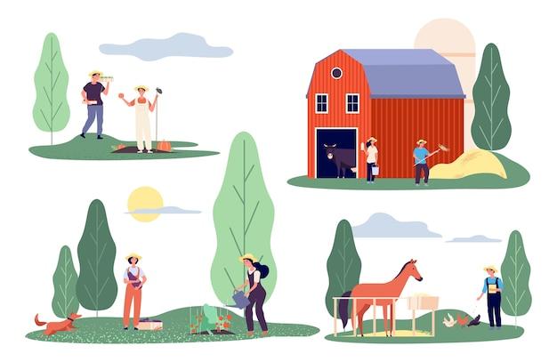 Agricoltori piatti