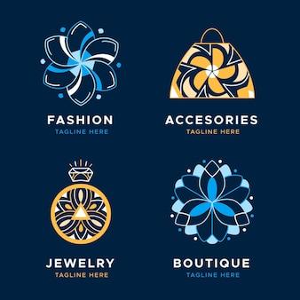 Modelli di logo di accessori moda piatta