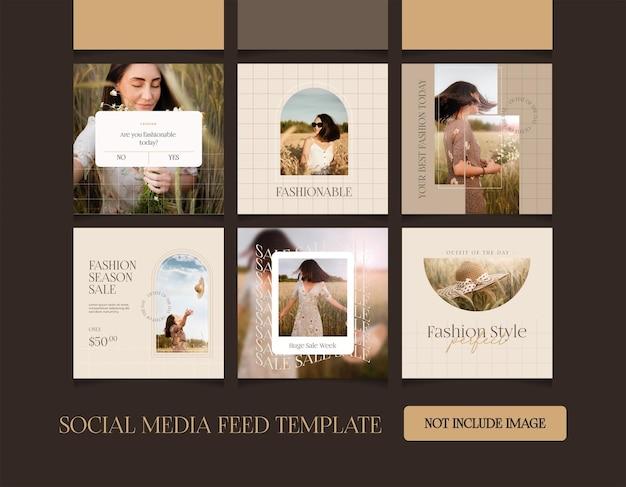 Collezione di moda piatta instagram post premium vector