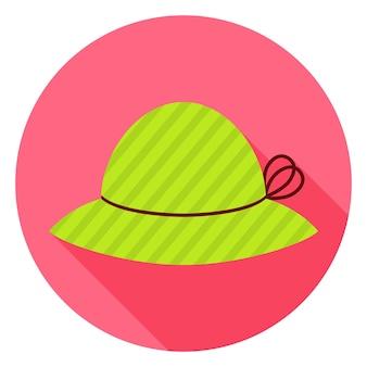 Icona del cerchio piatto moda cappello con ombra lunga. illustrazione vettoriale di copricapo piatto stilizzato
