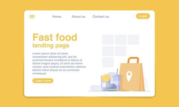 Modello di progettazione della pagina di destinazione piatto fast food.