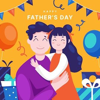 Illustrazione di festa del papà piatto