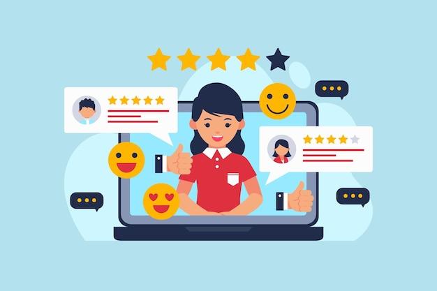 Concetto di feedback piatto illustrato Vettore Premium