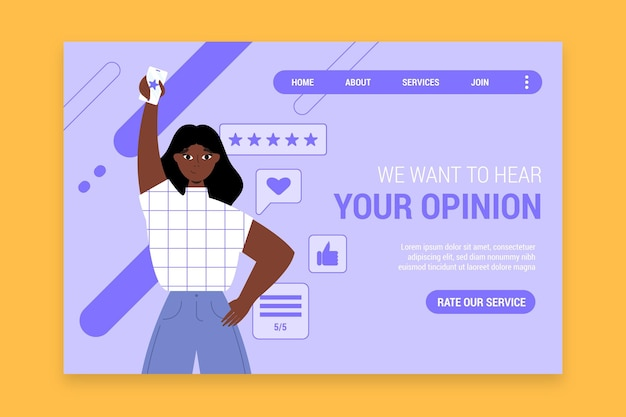 Pagina di destinazione del feedback piatto