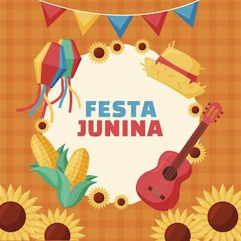 Illustrazione di festa junina piatta Vettore Premium