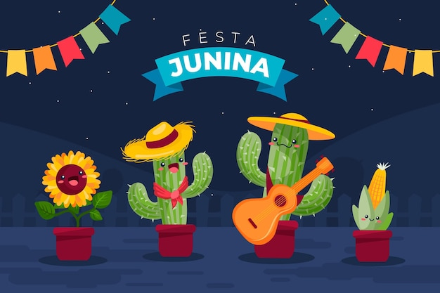 Illustrazione di festa junina piatta