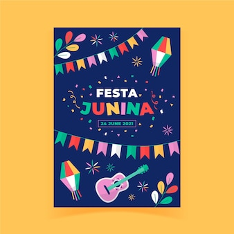 Modello di poster verticale piatto festa junina