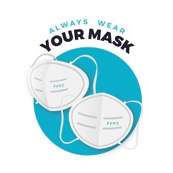 Illustrazione di maschera facciale piatta ffp2