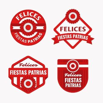 Collezione di badge flat fiestas patrias de peru