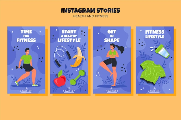 Set di storie di fitness piatto