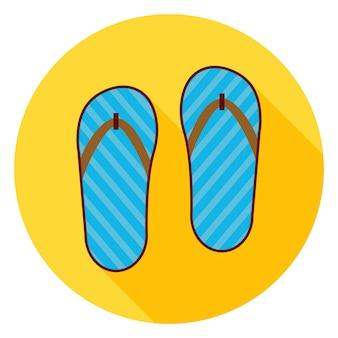 Icona del cerchio di scarpe infradito piatto con ombra lunga. illustrazione vettoriale di scarpe di moda piatto stilizzato
