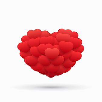 Palloncini volanti piatti a forma di cuore su sfondo bianco