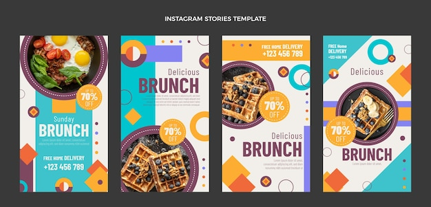 Storie di instagram di piatti piatti