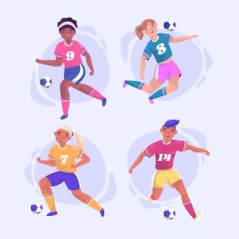 Set di illustrazioni di giocatori di football piatto