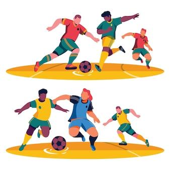 Pacchetto giocatori di calcio piatto
