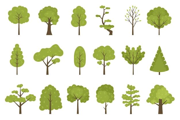 Icone piane degli alberi della foresta, elementi del paesaggio del giardino o del parco. cartone animato semplice tronco d'albero estivo, foglie e rami. insieme di vettore degli alberi della natura. piante con fogliame, vegetazione botanica organica
