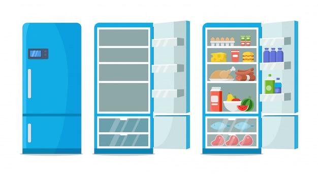 Frigorifero piatto. frigorifero vuoto chiuso e aperto. frigorifero blu con cibo sano, acqua, frutta e verdura