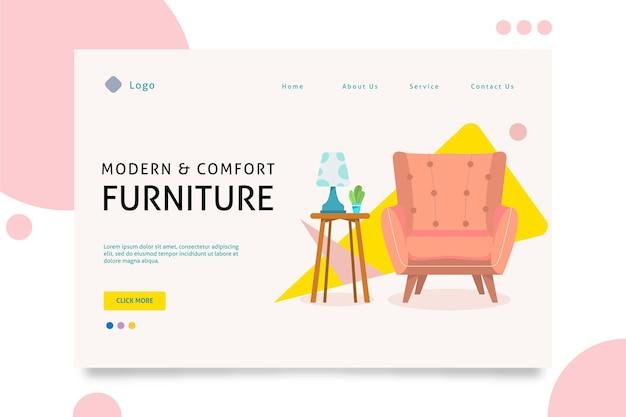 Modello di pagina di destinazione di vendita di mobili piatti