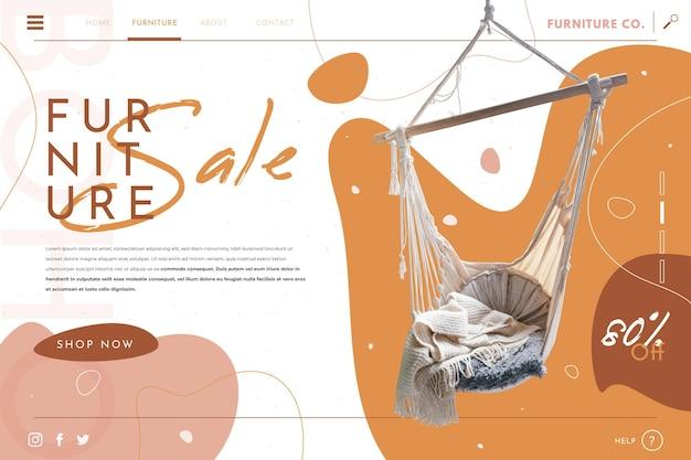 Pagina di destinazione della vendita di mobili piatti con foto