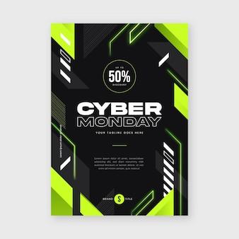 Modello di poster verticale piatto futuristico cyber lunedì