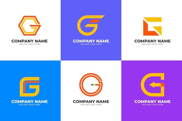 Collezione di logo lettera g piatta