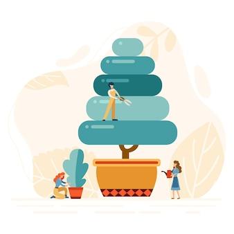 I lavoratori del giardino piatto potano gli alberi. persone del gruppo che lavorano con i tagliasiepi. sfondo del servizio di progettazione del paesaggio. illustrazione vettoriale.