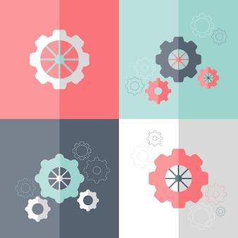 Set di icone di ruota dentata piatta. illustrazione vettoriale