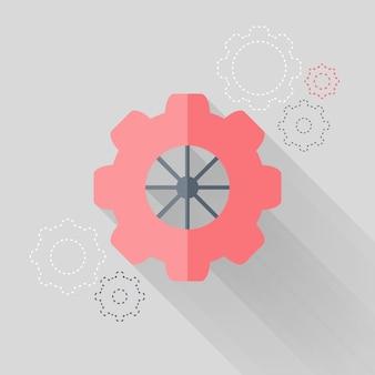 Icone piatte della ruota dentata sopra bianco. illustrazione vettoriale