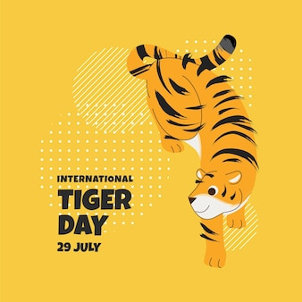 Illustrazione di giorno della tigre globale piatta