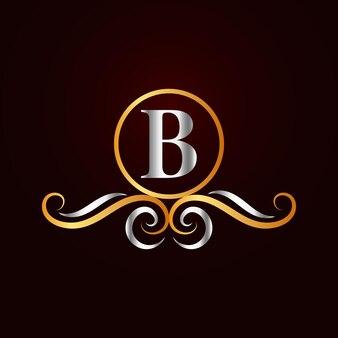 Modello di logo b ornamentale elegante piatto dorato
