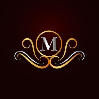 Modello di logo m ornamentale elegante piatto dorato