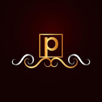 Modello di logo p ornamentale elegante piatto dorato