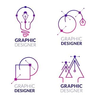 Collezione di logo designer grafico piatto