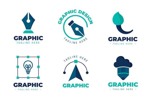 Set di logo piatto grafico