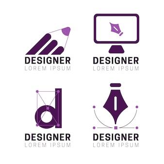 Insieme di logo di designer grafico piatto