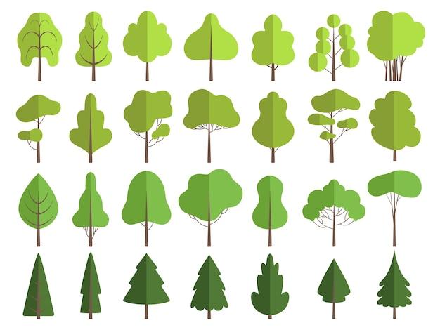 Alberi verdi piatti. le piante della natura puliscono la raccolta di vettore delle forme modellanti isolata. illustrazione albero e pianta verde, ambiente naturale