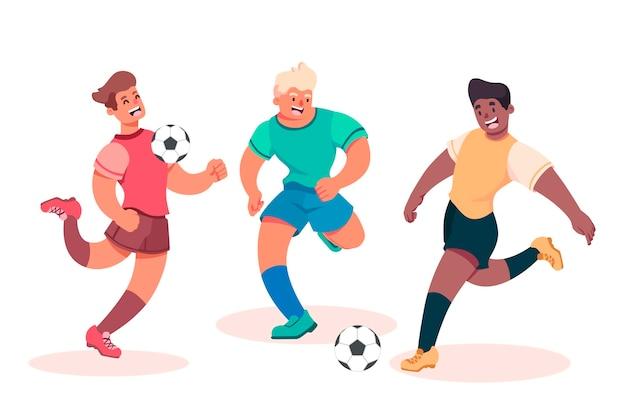 Gruppo piatto di gruppo di calciatori