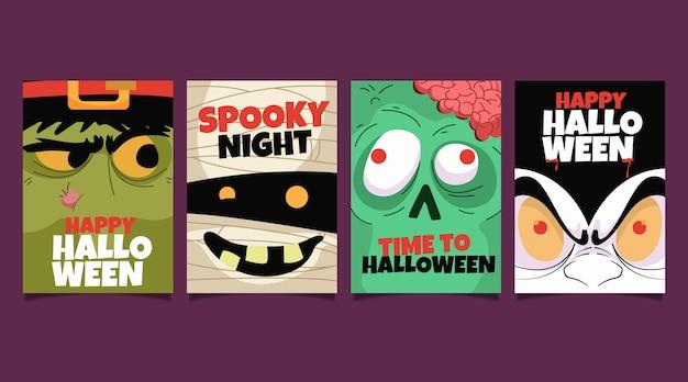 Collezione di carte di halloween piatto Vettore Premium